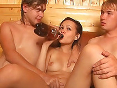 Adorable horny babe gets ass fucked hard by 2 sexy guys