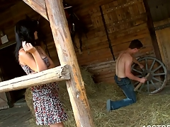 Nasty dark brown have a fun wild sex thither a barn on the hayloft
