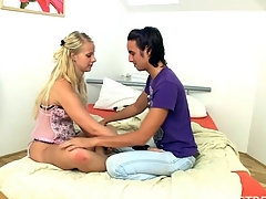 Blond slut is being pleased on the daybed with sex and oral-job games