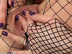 Hawt darling is fawning the brush wet cunt with various toys