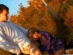 Goo loads award golden-haired for nastiness during outdoors sex