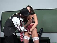Two vicious teachers make schoolgirl serve their enduring rods