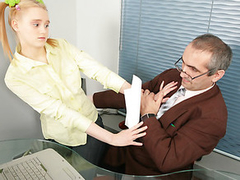 Busty blonde gets seduced into fucking her cunt with the teacher