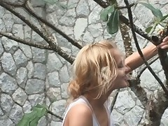 Blonde Sasha finds a sex-toy tree with a blue vib for her