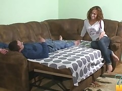 Pull out sofa worn out by 2 horny legal age teenager strumpets and a guy