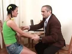 Ravishing hottie is getting her twat drilled by tutor from behind
