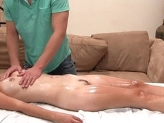 Sensual oil rub down with vigorous fucking action